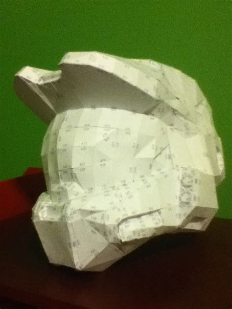 Halo Helmet Papercraft - master chief helmet papercraft by thesucessfulfailure on