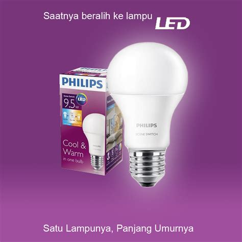 philips switch led bulb 9 5w 1 lu 2 warna putih dan kuning elevenia