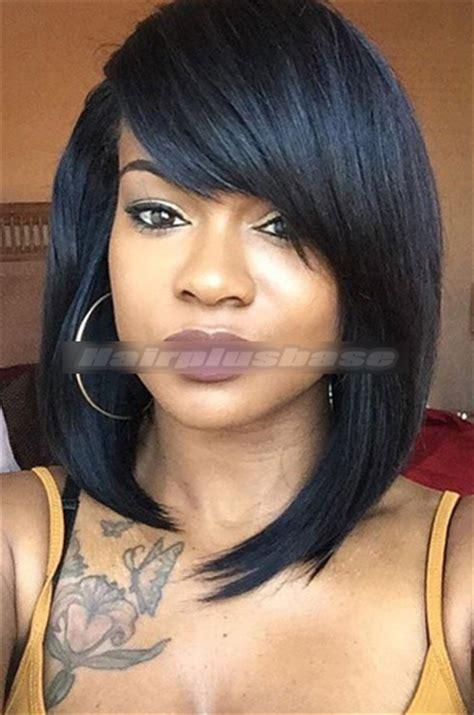 side swept bangs for black women rihanna cute short bob black hair full bangs lace wigs