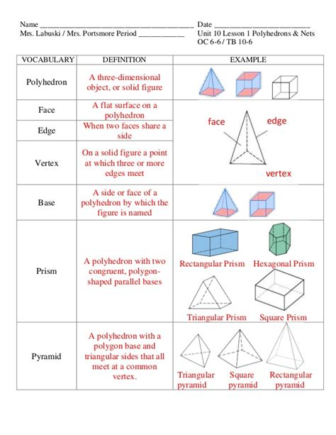 www geometry unit 10 lesson 1 polyhedrons nets