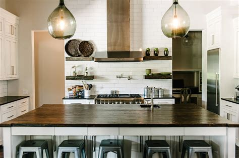 exle of pendants on each side of hood over island salvaged wood countertop transitional kitchen van