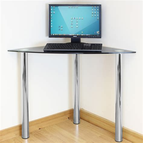 computer desk with legs black glass corner computer pc laptop desk home office study table chrome legs ebay