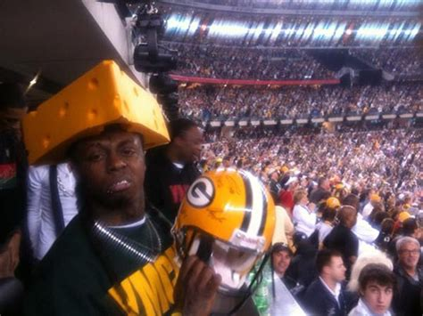 lil wayne reps for the green bay packers with cheese head