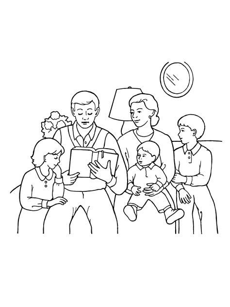 coloring pages for family home evening family home evening and reading scriptures coloring