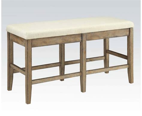 counter height bench stool acme furniture claudia white brown counter height bench