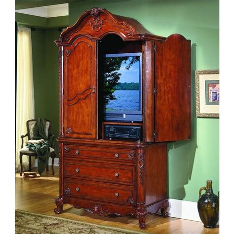 Flat Screen Tv Armoire by Homelegance Madaleine Solid Hardwood Flat Panel Plasma Lcd Antique Tv Armoire Ebay