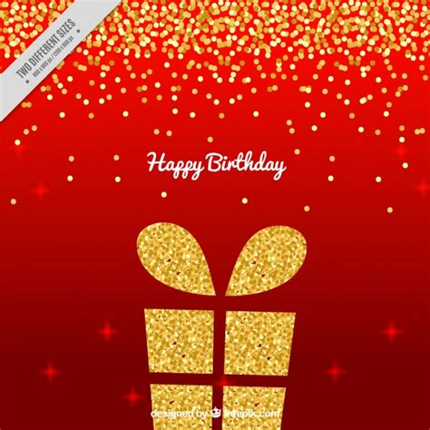 Red background with golden birthday present and confetti vector free download