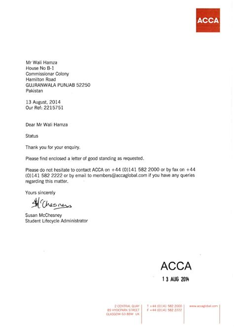 Request Letter For Standing Certificate 20 Letter Of Standing Acca