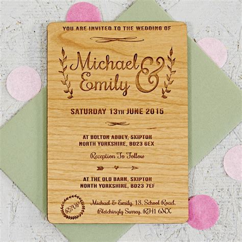 wedding invites floral wooden wedding invitation by notonthehighstreet
