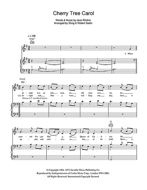 cherry tree song cherry tree carol sheet by sting piano vocal guitar 105893