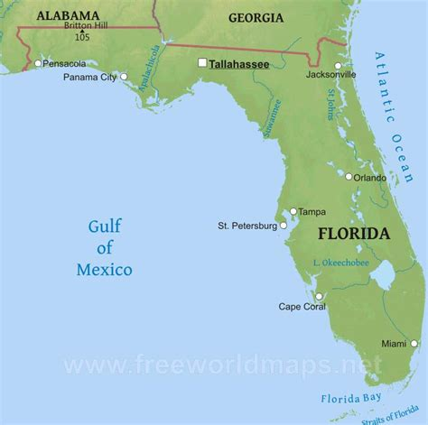 florida physical map physical map of florida