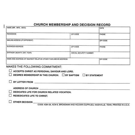 church member contact card template form church membership and decision record form acm 6