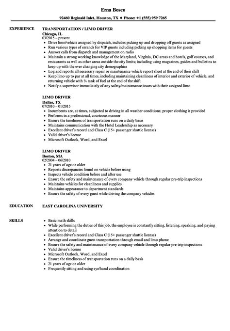 Professional Limo Driver Resume by Driver Resume Format In Word Resume Template Easy Http