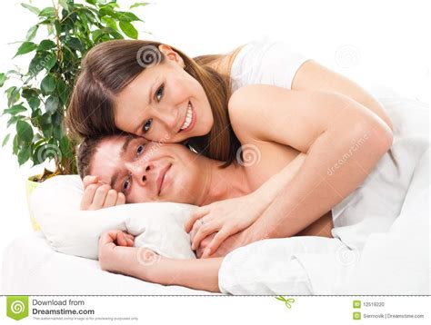 lay in the bed and and smile stock photo image