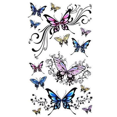 tatouage ephemere papillon floral