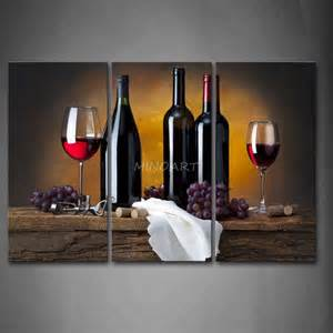 Grapes And Wine Home Decor 3 Piece Wall Art Painting Grape Wine In Bottle Cups