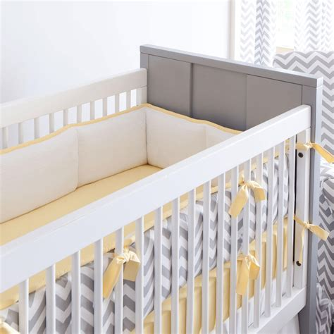 Gray And Yellow Zig Zag Crib Bumper Carousel Designs Baby Bumpers For Crib