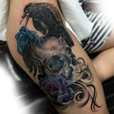 crow skull and roses tattoo on hip ink pinterest