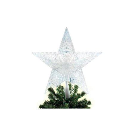 five star lighted tree top 8 25 quot led lighted clear 5 point tree topper white lights walmart