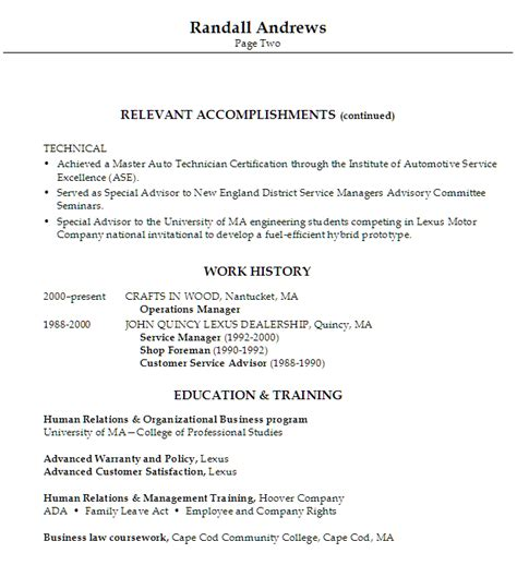 resume format for automobile service manager resume automotive service manager director