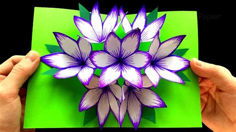 How To Make Pop Up Flowers Card In Paper - how to make 3d flower pop up card craft ideas