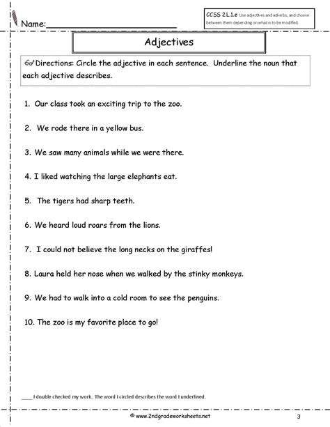 Adjective Worksheets For Grade by Free Using Adjectives Worksheets
