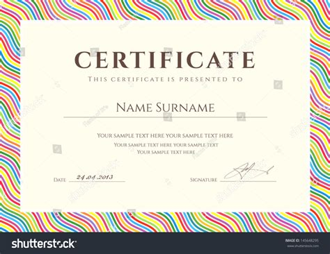 colorful certificate template certificate completion template sle background colorful