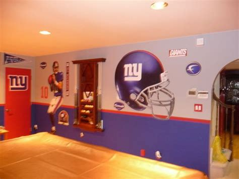 ny giants theme game room painting  hubbys man cave
