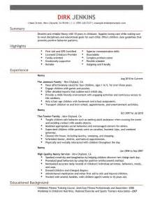 resume sle for nanny exle artist resume