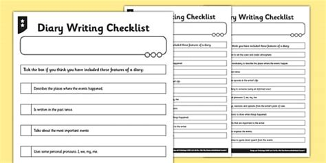 dear diary template ks2 diary writing checklist differentiated diary checklist
