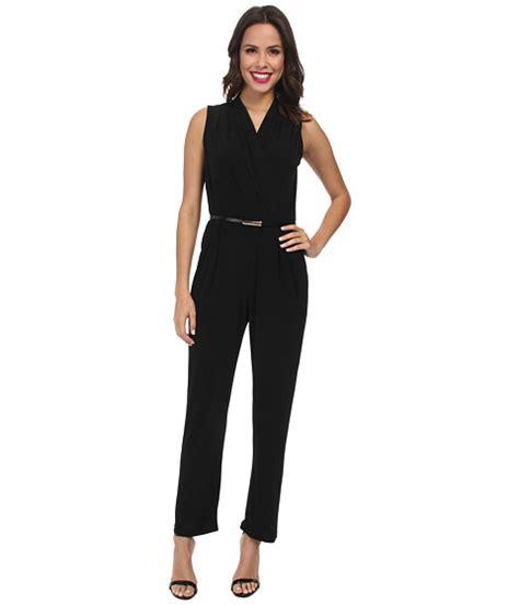 Wst 10749 Belted Shirt Jumpsuit rsvp belted jump suit black 6pm
