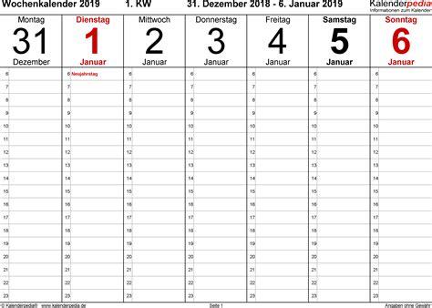 wochenkalender  als excel vorlagen zum ausdrucken