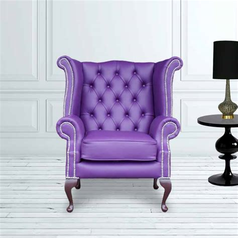 purple high back wing chair purple chesterfield wing chair designersofas4u