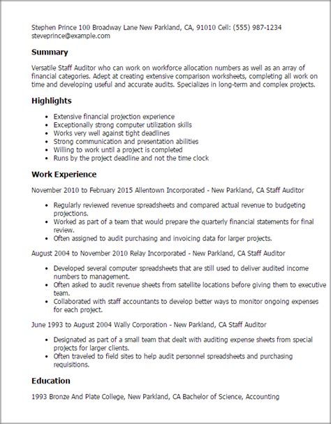 Auditor Resume by Staff Auditor Resume Template Best Design Tips