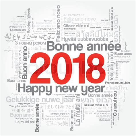 2018 happy new year in different languages celebration