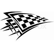 Tribal Sport Racing Tattoo With Checkered Flag  Stock