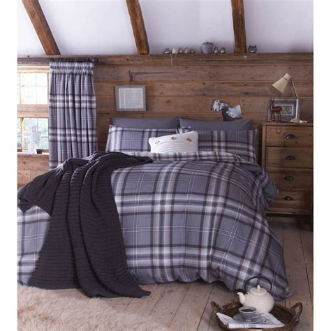 catherine lansfield catherine lansfield kelso charcoal tartan check duvet set catherine lansfield from emporium