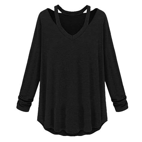 Outshoulder Shirt womens v neck cut out shoulder shirt top flouncing hem