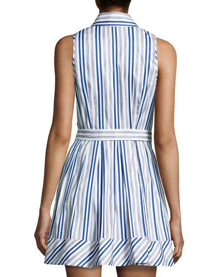 Striped Sleeveless Shirtdress milly stripe sleeveless shirtdress blue white