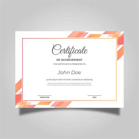 flat orange modern certificate vector template