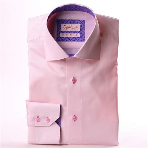 pink pattern shirt pink shirt with purple geometric pattern collar and cuffs