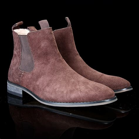chocolate brown suede chelsea boots wehustle menswear