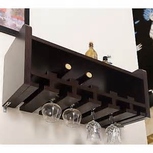 wall mount wine rack bottle glass stemware holder