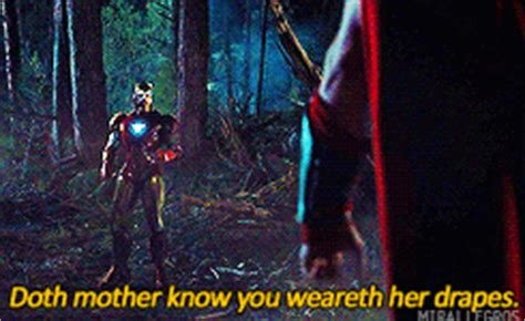 doth mother know you weareth her drapes mygif robert downey jr tony stark the avengers chris