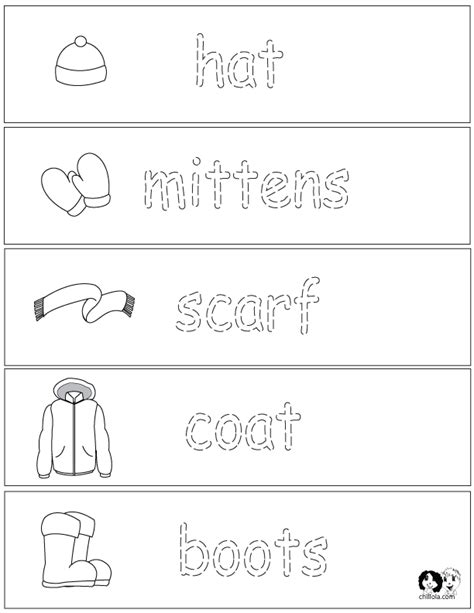 Winter Worksheets by Winter Clothes Worksheets For Children