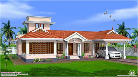 single bedroom homes kerala single story house plans