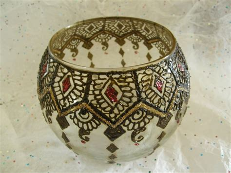 henna design on glass henna on a glass candle holder mehndi designs pinterest