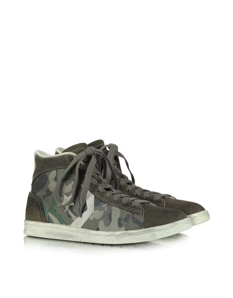 Converse Limited Edition Chair Print Shoe by Converse Pro Leather Mid Canvas And Suede Sneaker In Green