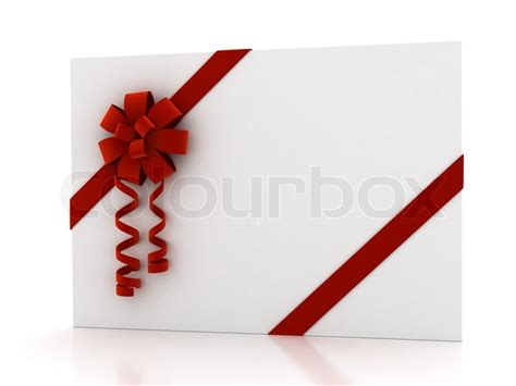 greeting card with ribbon over white 3d render stock