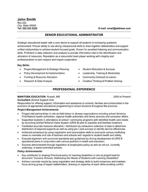 Resume Templates With Education Senior Educational Administrator Resume Template Premium Resume Sles Exle